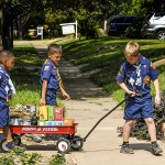 Cub Scouts selling popcorn